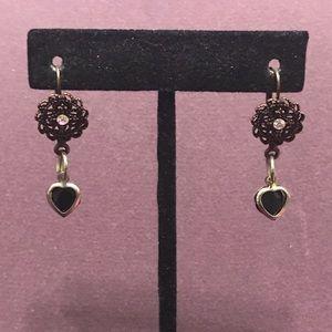 Black heart dangle earrings.  2/$10 Sale